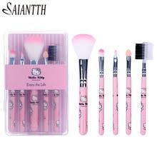 hello kitty makeup kit. 5pcs cute kitty handle hello makeup brushes set pink kids make up blush eyeshadow lip kit