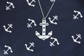 nautical anchor necklace nautical anchor pendant striped anchor necklace large anchor necklace sailor necklace nautical jewelry