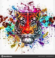 Divoký Tygr čelí Tetování Barevné Abstraktní Pozadí Stock