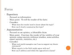 english expository vs argumentative  expository facts argumentative opinion 3