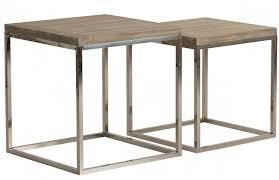 Lot de 2 table d'appoint carrée colonial pin massif foncé et métal ...