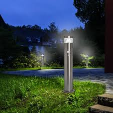 Pir Led Bollard Garden Lamp Post Stainless Steel Outdoor Motion