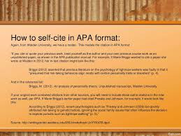 How To Self Cite In Apa Format Again From Walden University We