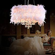 OOFAY LIGHT? Contemporary Luxuriant White Feather Chandelier with 3 Lights  Crystal Drop Featured pendant light
