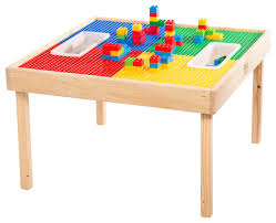 reversable lego and duplo wood play table with 2 storage bins