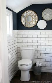 small bathroom makeovers. Small Bathroom Makeover With Hale Navy Paint And White Subway Tile Makeovers
