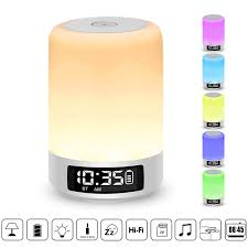 Ysd Bedside Lamp With Bluetooth Speaker Touch Sensor Table Lamp Dimmable Warm White Light Color Changing Rgb Alarm Clock Hands Free Call Best