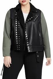 image of rachel rachel roy rachel roy studded faux leather moto jacket plus size