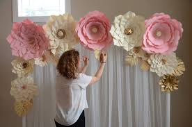 How To Make Paper Flower Backdrop Paper Flower Backdrop Paper Flower Template Diy Paper Etsy