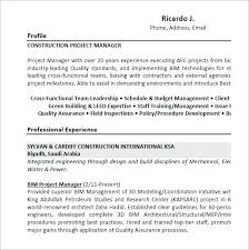 Sample Resume Of A Project Manager Best Of Construction Project Manager Resume Templates Resume Ideas Pro