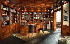 office wood paneling. OFFICE, Library With Wood Paneling And False Ceiling, In Classic Style Office R
