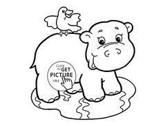 Small Picture Cute Baby Hippo animal coloring page for kids animal coloring
