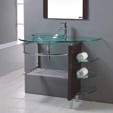 Kokols Usa Clear Single Sink Vanity With Clear Tempered Glass And Glass Top Common 32 In X 22 In In The Bathroom Vanities With Tops Department At Lowes Com