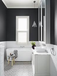 modern black white. Beautiful And Modern Black White Bathroom With Subway Tiles From Dulux Colour Gallery. Love The Detailing On Floor!