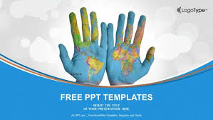 Map Of The World For Powerpoint World Map Painted On Hands Powerpoint Templates
