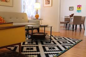 navajo inspired b w rug midcentury living room los angeles