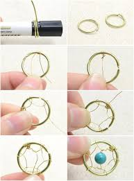 Wire Wrap Dream Catcher Tutorial How to make delicate dream catcher earrings with flowery turquoise 7