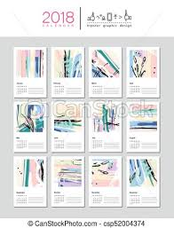 creative calendar. Exellent Creative Creative Calendar Template For 2018 Year Week Starts From Sunday  Universal Floral Artistic Trendy Style With Hand Drawn Textures Collage To Calendar L