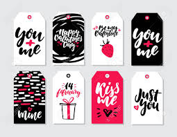 Valentines Day Gift Tag Vector Set Collection Of Hand Drawn