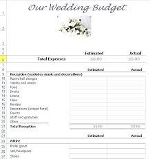 Example Wedding Budget Template Free Form Jaxos Co