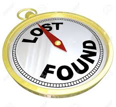 Lost And Found Words On Gold Compass To Find Direction In Your
