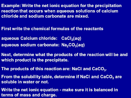 example write the net ionic equation for the precipitation reaction that occurs when aqueous solutions