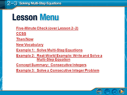 2 lesson five minute check over lesson 2 2 ccss then now new voary example 1 solve multi step equations example 2 real world example write and