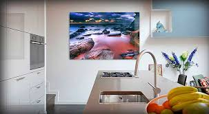liven up your kitchen with glass wall print