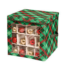 Christmas Decorations Storage Box HoneyCanDo Red And Green Ornament Storage Box 100OrnamentsSFT 6