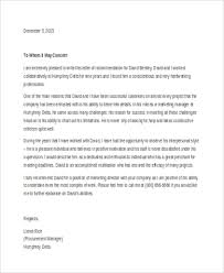 Recommendation Letter For Colleague Free 7 Sample Letter Of Recommendation In Word Pdf