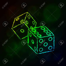 Dice With Lights Dice Icon Two Game Dices Casino Symbol Lights Silhouette Design