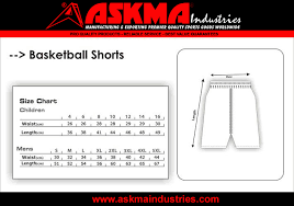 Basketball Shorts Size Chart Inquiry Form