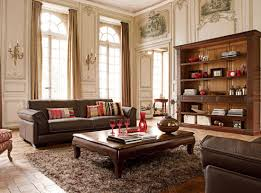 lovely furniture for small living room interior design with huge  sustainable teak armoire wall unit and leather sofa