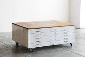Antique Drawer Cabinet Vintage Flat File Coffee Table In High Gloss White With