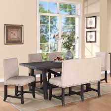 dining room tables with upholstered chairs. modus yosemite 8 piece rectangular dining table set with upholstered chairs and settee | hayneedle room tables i