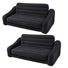 futon pull out bed. Wonderful Out Intex Inflatable Queen Size Pull Out Futon Sofa Couch Bed Dark Gray 2 Pack On Bed