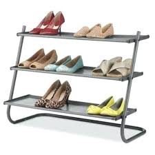 3 tier angled shoe rack in metal with fabric shelves whitmor parts