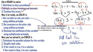 pattern for solving linear equations in 1 variable