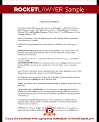 Catering Contract Template Classy Food Service Contract Template With Sample