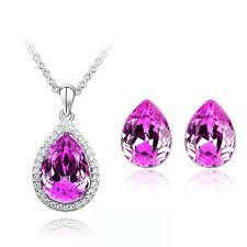 details about stylish jewellery set rose pink crystal teardrop studs earrings necklace s338