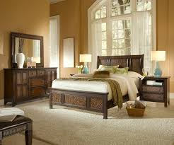 Kingston Bedroom Furniture Queen Platform Bed With Sleigh Headboard And Woven Rattan Detail