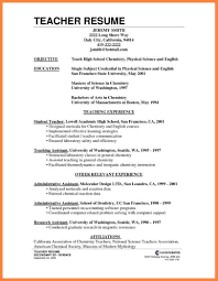 Resume For Science Teacher Job Teacher Effective And Easy To Use