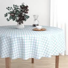 Round Tablecloth Grid Graph Paper Grids Blue Grid Simple Grid Cotton