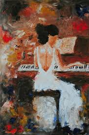 the pianist is a print of an original oil painting by laura saune with signature features a woman in a white dress playing a piano