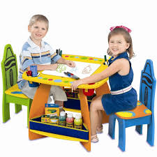 kids activity table and chairs wood furniture toddler art desk play storage