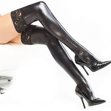 <b>Women Sexy</b> Stockings Lace Patent Leather Tube Socks Tight-fitting ...