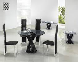 Round Glass Tables For Kitchen Awesome Round Black Glass Kitchen Table With Armless Chairs