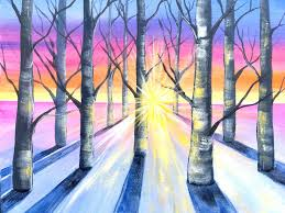 acrylic paint easy winter birch trees acrylic painting tutorial in acrylic for beginners this acrylic paint