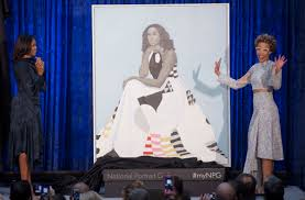mice obama and artist amy sherald unveil mrs obama s portrait at the smithsonian s national portrait
