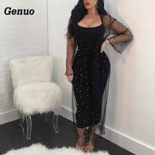 <b>Genuo</b> Sexy Dress Elegant V Neck Off Shoulder Tassel Glitter Maxi ...